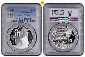 2018 France 10 Euros The Kiss / Le Baiser de Rodin - Silver Coin PR70DCAM B+C OA
