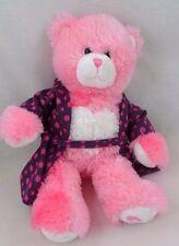 "BABW Build a Bear 17"" Pink Heart Bear Magnetic Hands & Purple Wizard Bath Robe"