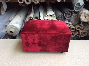 footstool / pouffe upholstered in Laura Ashley velvet cranberry