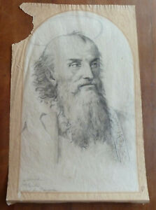 Antique 19 C. St. Paul Signed Drawing Study After Perugino