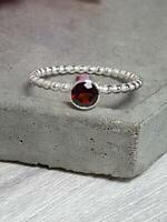 Garnet Stone Ring Solid 925 Sterling Silver Ring Band Ring Handmade Ring SR15