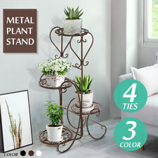 4 Tire Metal Flower Pot Rack Plant Display Stand Shelf Holder Garden   +