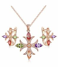 New rose gold plated multicolor cubic zirconia Cross pendant jewelry set