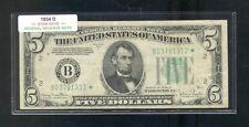 "1934D "" B "" STAR $5.00 FRN B03791312*"