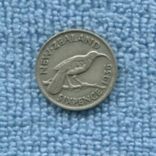1936 New Zealand NZ Sixpence Silver Coin  S-853