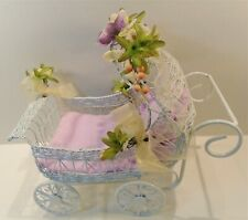 """Doll Carriage Bed - Decorated White Metal and Wire fits dolls up to 8"""""""