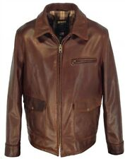 SCHOTT NYC Men's 563 Waxy Cowhide Leather Delivery Jacket (Brown) Size M