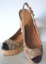 Coach Ferry Signature C Jacquard/Calf Khaki Chestnut Shoes Size 8 NIB