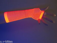 Neon party UV gloves mesh fishnet stocking fingerless dance fluorescent 80's