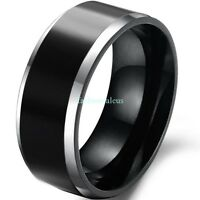 Fashion 8mm Black Polish Comfort Fit Tungsten Carbide Ring Men's Wedding Band