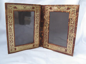 """Egyptian Camel Leather Double Picture Frame With Pharaoh Embossed Design 7.25"""""""