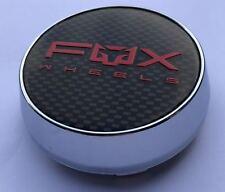 4 X FOX RACING FX004 ALLOY WHEEL CENTRE CAPS PLUS BADGES (CARBON, RED) (63MM)