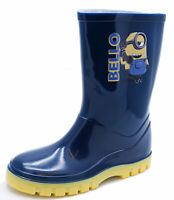 KIDS GIRLS BOYS NAVY MINIONS PULL-ON WELLIES SPLASH BOOTS WELLINGTONS SIZES 4-12