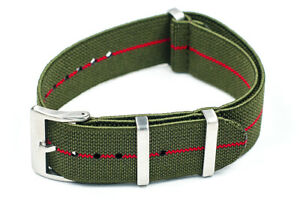Elastic Parachute Watch Strap Band Nylon Marine Nationale Striped Military MN