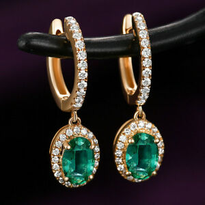 2.14TCW Natural Emerald Diamond Lever Back Drop Earrings Solid G14K Yellow Gold