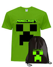 T-shirt maglietta cotone + Sacca -MINECRAFT- LYON - kit for players- Novità 2020