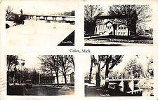 Colon Michigan~4 Views~Library~Man on Dam~Lamb Knit Goods Co~River~1947 RPPC