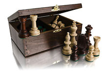 """3.5"""" STAUNTON No.5 WEIGHTED PROFESSIONAL CHESS PIECES IN WOODEN CRAFTED BOX!!!"""