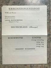 Kriegsgefangenenpost Correspondance Camp Lettre courrier France Allemagne