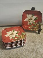 222 Fifth Poinsettia Holly Christmas Winter  Appetizer Dessert Plates Set of 8