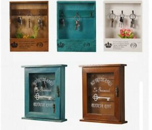 Wooden Key Storage Box Wall Mounted  with Transparent Glass Cover Home Decor