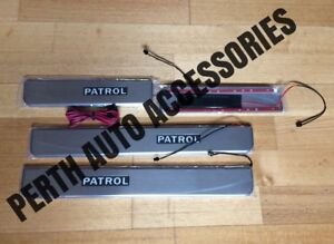 Y62 Nissan Patrol Door Sill-Side Kick Plates with lights. Brush Stainless Finish