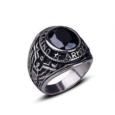 Stylish Men's Women's Punk Titanium Steel Rhinestone Finger Ring Jewelry Charm