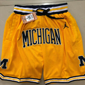 HOT Michigan Wolverines Vintage Men's Yellow Basketball Shorts Size: S-XXL