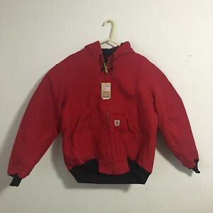 NWT Carhartt J140 Flannel-Lined Duck Active Jacket Medium Red USA Made