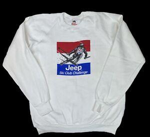 Vintage Jeep Ski Club Challenge Sweatshirt Size XL Made In USA Crewneck Skiing