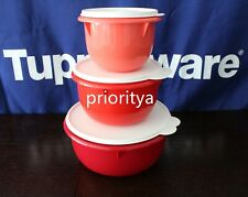 Tupperware Classic Mixing Bowl Set of 3 Red Watermelon Coral New in Package