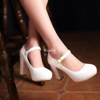 Mary Jane Womens Round Toes High Heel Block Pumps Buckle Court Shoes Plus Size