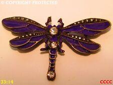 Lo Steampunk gioielli spilla distintivo in smalto a freddo Libellula Viola