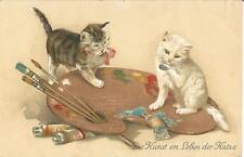 Katze, zwei kleine Kätzchen mit Farbpalette, alte Ansichtskarte um 1920