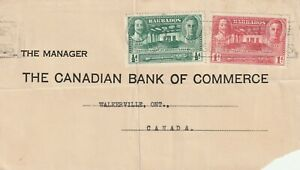 Barbados freefront cover sent to Walkerville Canada (bent)