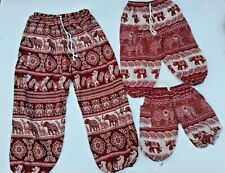 Kids Red & Cream  Rayon Hippie Happy Elephant Print Pants 1 to 10 years