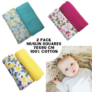 2 pack LARGE 70X80 CM Butterfly COTTON BABY MUSLIN SQUARES CLOTHS COMFORTER BURP