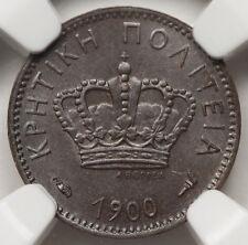 Greece 1900 A Crete Lepton Copper Coin Ngc Ms62 Bn Choice Unc Km# 1 Geo-1
