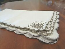 Collection of 9 Antique linen cocktail napkins 2 patterns