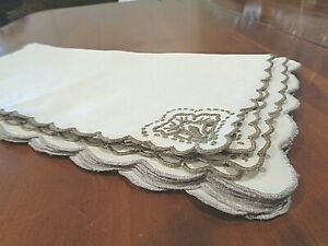 Coloured Crochet Lace Border Set of 7 Vintage Ivory and Ecru Embroidered Cloth Napkins with Ecru Beige Edging RBT3631