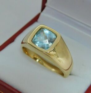 Natural Sky Blue Topaz Gemstone with Gold Plated 925 Sterling Silver Men's Ring
