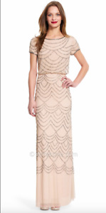 Adrianna Papell Short Cap Sleeve  Blouson Beaded Gown Taupe Pink sz 0  NWT $260