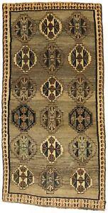 Tan Brown Tribal Design Vintage 3'5X6'9 Wool Farmhouse Decor Rug Oriental Carpet