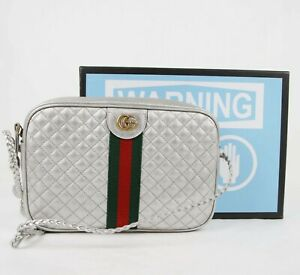 Gucci Silver Metallic Leather Crossbody Bag with GRG Web and Gold GG Logo 541051