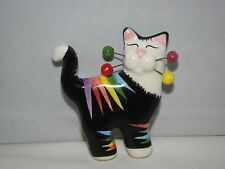 """Vintage Rare Whimsiclay Ceramic Painted Cat w/Wire Whiskers Brooch Pin 2 1/4"""""""