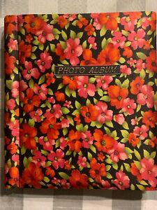 Vintage Cloth Floral Rose Pattern Album with Slide in Photo Pockets Japan