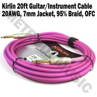 Kirlin 20ft Guitar Instrument Cable Electric Patch Cord 7mm Bass +Cable Tie PUF