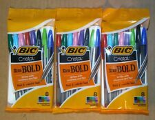Lot of 3 Bic Cristal Xtra-Bold 1.6mm 8 Pack Pens Assorted Colors 24 Pens Total