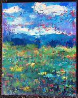 MOUNTAIN MEADOW Original Acrylic Abstract Landscape Knife Painting 16x20 TEXTURE