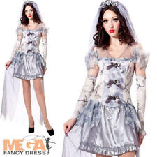 Ghost Bride Ladies Fancy Dress Wedding Horror Adults Halloween Costume Outfit